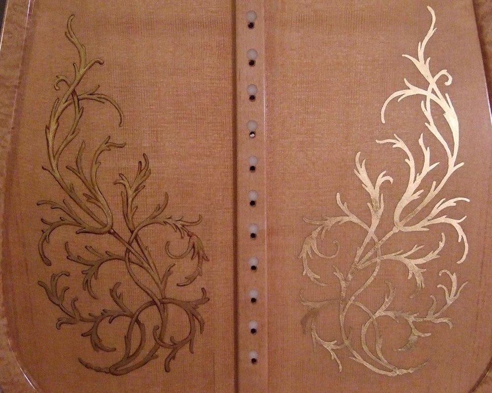 Decorative motif on a new sound board work in progress