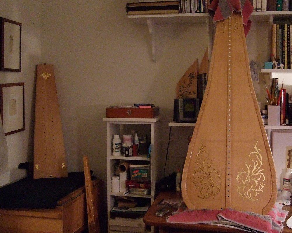 two harp soundboards in m y studio